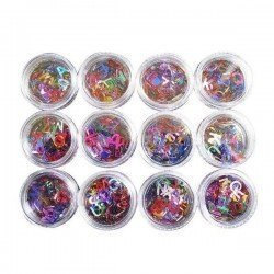 12 tarros decoracion uñas (letras)