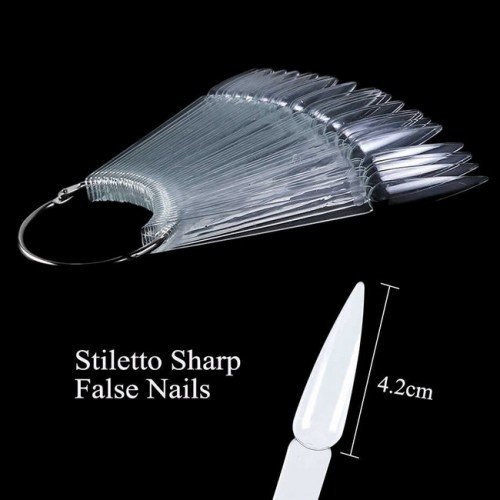 Expositor 40 pcs Nail Tips Stiletto - CLEAR